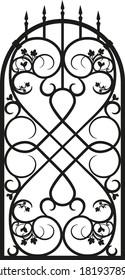 Forged fence. Gothic door, vector design. Decorative garden gate. Metal pattern or iron wicket for garden, castel. Rich ornament.