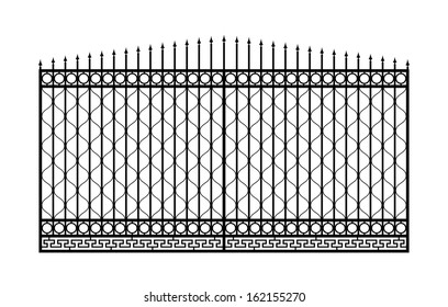 Forged gate with sharp spikes. Isolated on white background. Vector EPS10.