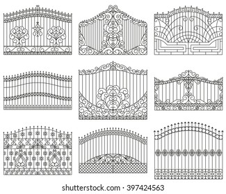 Forged gates set.  Decorative metal gates with swirls, arrows and ornaments.