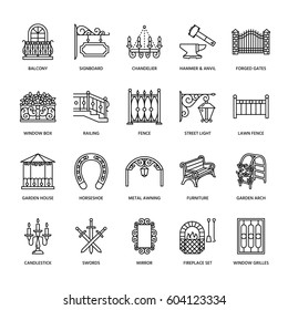 Forged metal products, artistic forging vector line icons. Blacksmith elements, wrought window fence, gate, railing, garden furniture, signboard and street lights. Metal decoration thin linear signs.