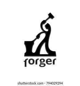 Forger vector logo. Abstract bent silhouette of a blacksmith, who crafts something, holding the tongs over anvil and swinging the hammer. Pictograph of a farrier or repairman. Black isolated icon.