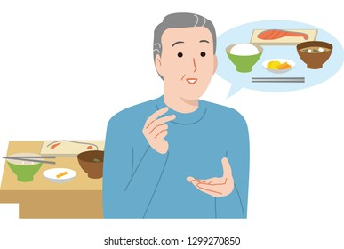 Forget to eat. An elderly man with memory impairment symptoms.