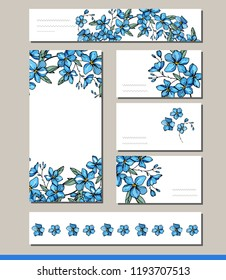 Forget me not set with visit cards and greeting templates