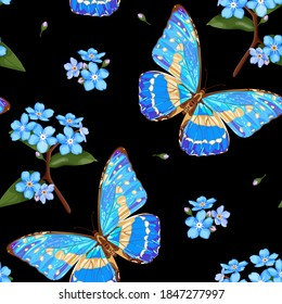 Forget-me-not flowers and butterflies. Floral seamless pattern with neon blue butterfly and Forget-me-not Flowers (Myosotis) on a black background. Stock vector illustration.