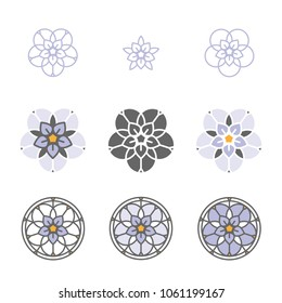Forget-me-not stylized flower logo icon. Floral composition, set of vector abstract beauty linear style logotype template. Glass painting, leaded pane, stained-glass window. Yoga studio.