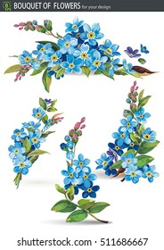 Forget-me-nots isolated on white background. Decorative element for greeting card