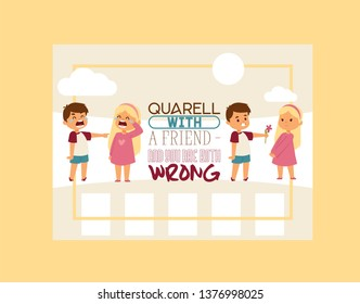 Forgive me vector kid character and children in quarrel forgiving sorry apology illustration of forgiveness apologize card background crying girl boy friends backdrop.