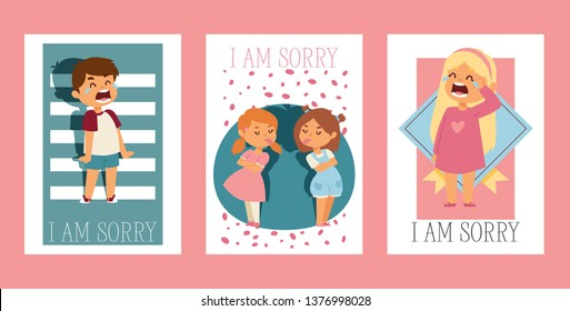 Forgive me vector kid character and children in quarrel forgiving sorry apology illustration set of forgiveness apologize card background crying girl boy friends backdrop.