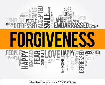 Forgiveness word cloud collage, social concept background