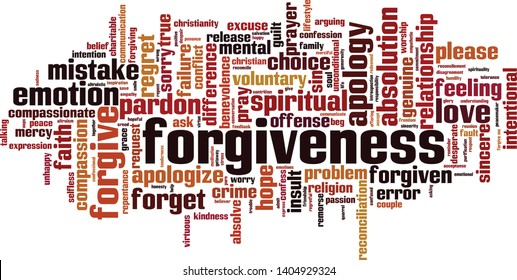 Forgiveness word cloud concept. Collage made of words about forgiveness. Vector illustration
