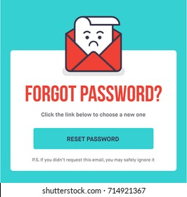 Forgot Password. Flat Style Vector Illustration UI UX Design with Text Box and Password Reset Button. Vector Illustration of lost character.