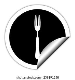 fork  - black vector icon. Round sticker.