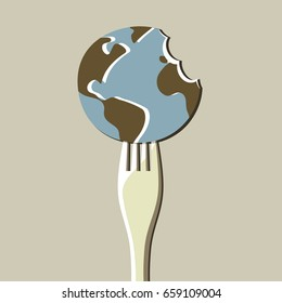 Fork with earth globe