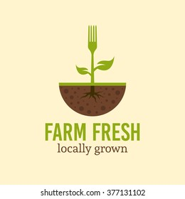 Fork with green leaves and root sprout from the soil, vector logo concept template with sample text