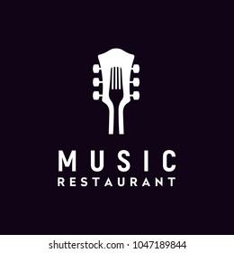 Fork Guitar Live Music Concert on Bar Cafe Restaurant Pub Nightclub logo design