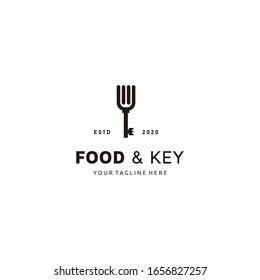 Fork with key logo design vector illustration food icon element