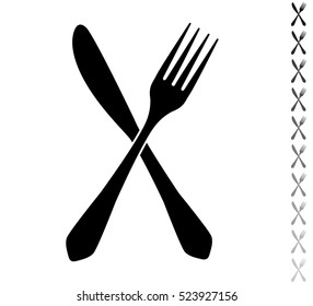 Fork and knife - black vector icon and ten icons in  shades of grey