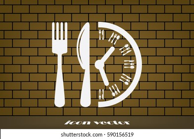 Fork Knife Clock icon vector illustration.