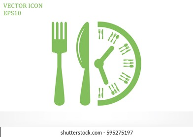 Fork Knife Clock icon vector illustration