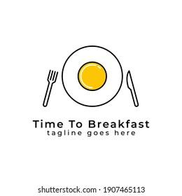 Fork and Knife with Egg Plate for Restaurant Logo Design