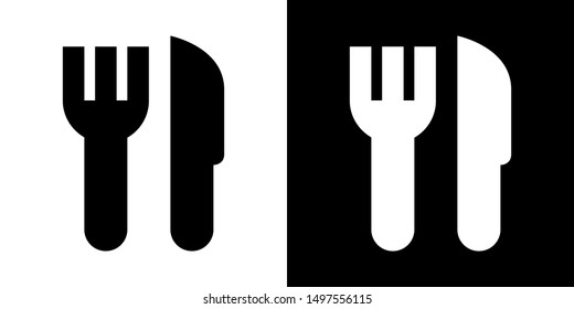 Fork and Knife. Glyph Icon in White and Black Version.