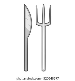 Fork and knife icon. Cartoon illustration of fork and knife vector icon for web