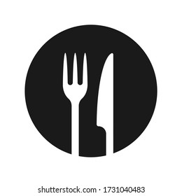 Fork and knife icon logo. Simple flat shape restaurant or cafe place sign. Kitchen and diner menu symbol. Vector illustration image. isolated on white background.