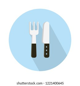 fork and knife icon. Place setting, fork and knife illustration isolated - restaurant cutlery menu icon