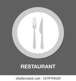 Fork and knife icon, restaurant symbol - cutlery sign