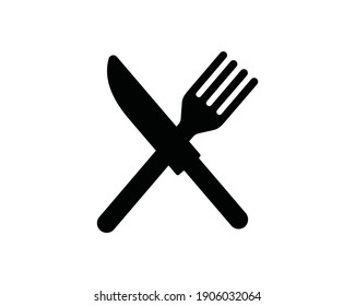 Fork and knife icon. Simple flat vector illustration isolated on white background.
