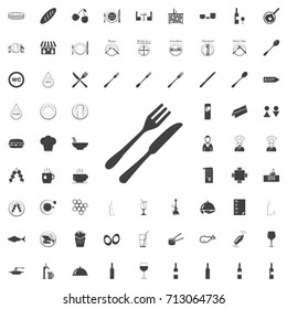 Fork and Knife icon vector, solid illustration, pictogram black icon on the white background restaurant cafe set Flat vector illustration