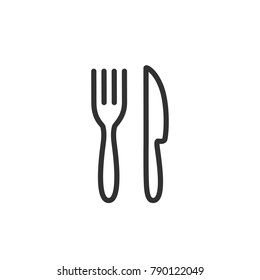 Fork and knife. linear icon. Line with Editable stroke