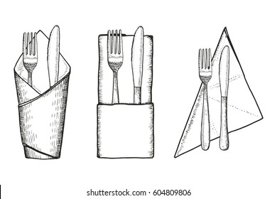 Fork and knife on napkin vector sketch set
