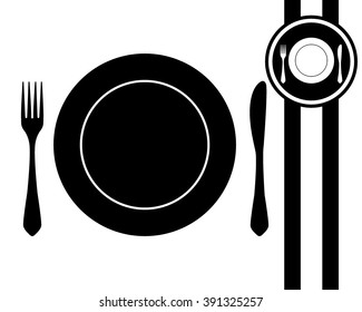 fork knife and plate - black and white vector icon