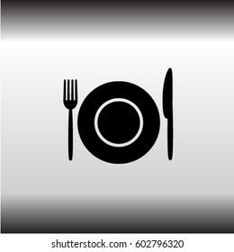 Fork, knife and plate icon, utensil vector illustration