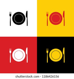 Fork, Knife and Plate sign. Vector. Icons of german flag on corresponding colors as background.
