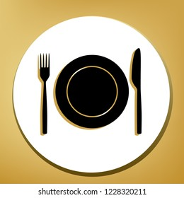 Fork, Knife and Plate sign. Vector. Black icon with light brown shadow in white circle with shaped ring at golden background.