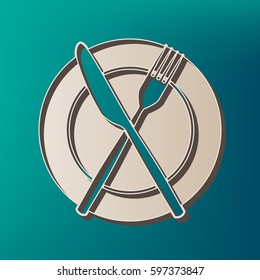 Fork, Knife and Plate sign. Vector. Icon printed at 3d on sea color background.