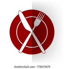 Fork, Knife and Plate sign. Vector. Bordo icon on white bending paper background.