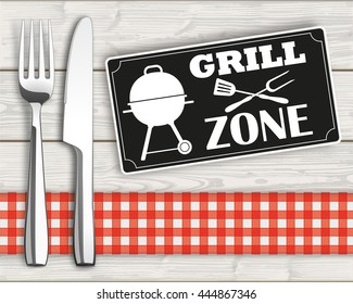 """Fork with knife and sign with text """"BBQ Zone"""". Eps 10 vector file."""