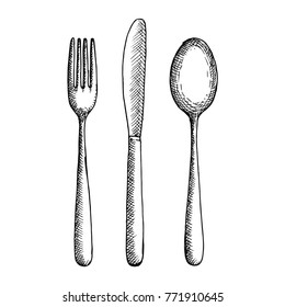 Fork knife and spoon cutlery vector sketch