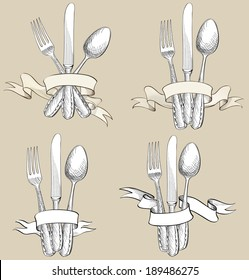 Fork, Knife, Spoon hand drawing sketch set. Cutlery collection. Restaurant symbol set.