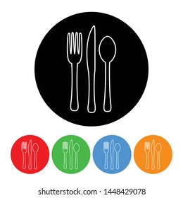 Fork knife and spoon icon black circle design element with an outline style vector silverware illustration with four color variations isolated on a white background