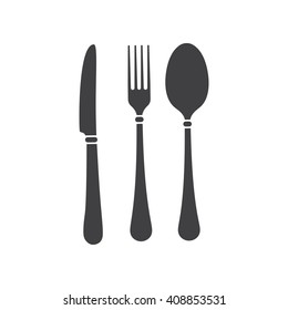 fork, knife and  spoon icon on the white background