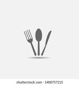 Fork knife spoon icon. Restaurant or cafe symbol, Vector illustration
