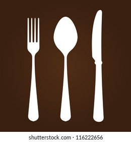 Fork Knife and Spoon - White symbols of cutlery on dark brown background