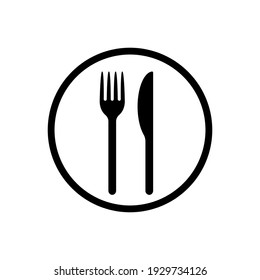 Fork and knife vector icon. Simple flat shape restaurant or cafe place sign. Kitchen and diner menu logo symbol.