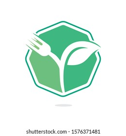 Fork and leaf vector logo design. Organic food concept with Fork and leaf with Fork and leaf.