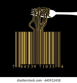 Fork spaghetti barcode design idea concept on black background