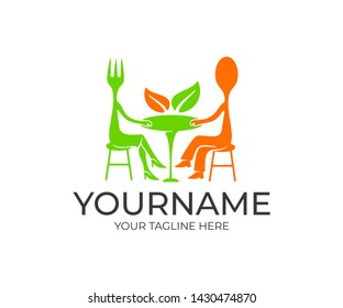 Fork and spoon cartoon character, sitting at the table in a restaurant, logo design. Food and drink, fast food, cafe and eatery, vector design and illustration